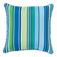 Stripe Outdoor 17-Inch Square Throw Pillow in Ocean