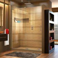 "DreamLine Mirage-X 56-60"" W x 72"" H Frameless Shower Door in Brushed Nickel, Left Wall Installation"