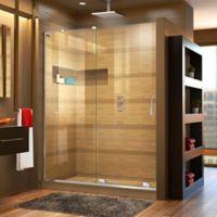 "DreamLine Mirage-X 56-60"" W x 72"" H Frameless Shower Door in Chrome, Left Wall Installation"