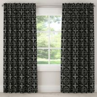 Paris Tile Rod 84-Inch Pocket/Back Tab Window Curtain Panel in Black