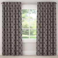 Damask 108-Inch Rod Pocket/Back Tab Window Curtain Panel in Black