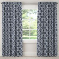 Damask 108-Inch Rod Pocket/Back Tab Window Curtain Panel in Blue
