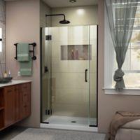 """DreamLine Unidoor-X 35-35.5"""" W x 72"""" H Frameless Hinged Shower Door in Satin Black"""