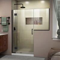 """DreamLine Unidoor-X 59-59.55"""" W x 72"""" H Frameless Hinged Shower Door in Satin Black"""