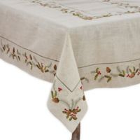 Saro Lifestyle Joyeuses Fêtes 67-Inch Square Tablecloth in Natural