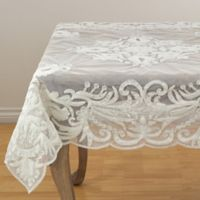 Saro Lifestyle Alessandra Beaded 54-Inch Square Tablecloth in Ivory