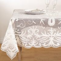 Saro Lifestyle Alessandra 72-Inch Square Tablecloth in Ivory