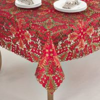 Saro Lifestyle Panettone 67-Inch Square Tablecloth in Red