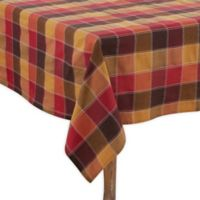 Saro Lifestyle Harvest Plaid Stitched 70-Inch x 180-Inch Oblong Tablecloth in Red