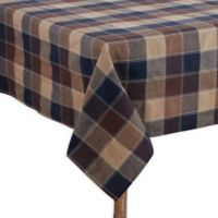 Saro Lifestyle Harvest Plaid Stitched 70-Inch x 120-Inch Oblong Tablecloth in Brown