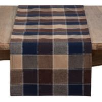 Saro Lifestyle Harvest Plaid Stitched 72-Inch Table Runner in Brown