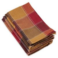 Saro Lifestyle Harvest Plaid Stitched Napkins in Orange (Set of 4)
