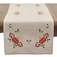 Saro Lifestyle Holly Ornament 72-Inch Table Runner in Natural