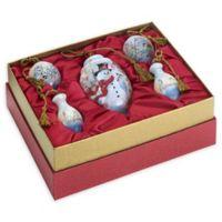 Ne'Qwa 5-Piece Birch Forest Snowman Ornament Gift Set
