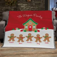 Gingerbread Family Personalized Blanket