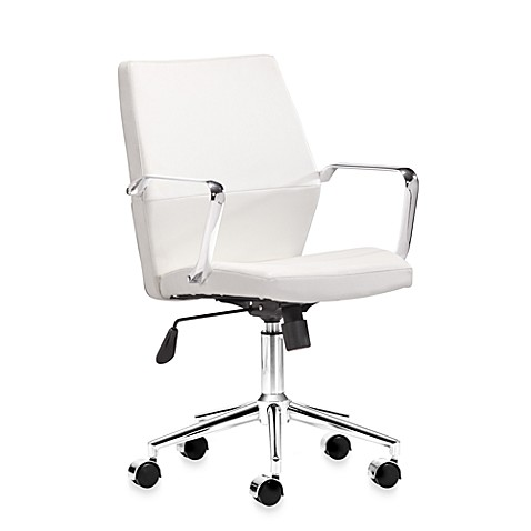 Zuo Modern Holt Low Back Office Chair in White
