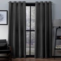 Exclusive Home Firenze 96-Inch Grommet Top Window Curtain Panel Pair in Black Pearl