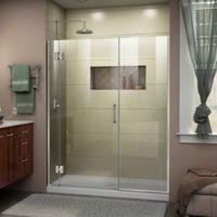 """DreamLine Unidoor-X 64-64.5"""" W x 72"""" H Frameless Hinged Shower Door in Brushed Nickel"""