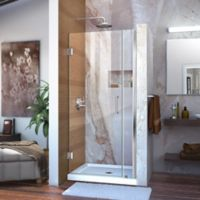 """DreamLine Unidoor 30-31"""" W x 72"""" H Frameless Hinged Shower Door in Chrome"""