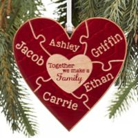 Together We Make A Family Christmas Personalized Ornament in Red