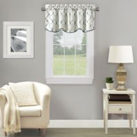 Stockport Ogee Embroidered Window Valance in Blue