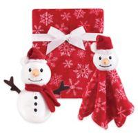 Hudson Baby® 3-Piece Snowman Blanket Gift Set in Red