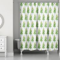 Designs Direct Watercolor Christmas Tree Shower Curtain in Green