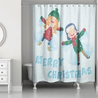 Designs Direct Snow Angels Shower Curtain in Blue