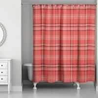 Designs Direct Plaid Shower Curtain in Red