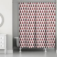 Designs Direct Plaid Tree Shower Curtain in Red