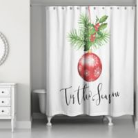 "Designs Direct ""Tis the Season"" Shower Curtain in Red"