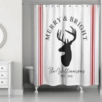Designs Direct Merry and Bright Reindeer 71-Inch x 74-Inch Shower Curtain