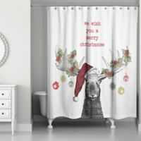 Designs Direct Christmas Moose Shower Curtain In Red