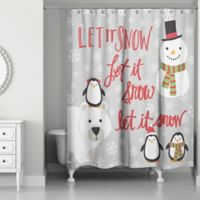 "Designs Direct ""Let It Snow"" Winter Friends Shower Curtain in Grey"