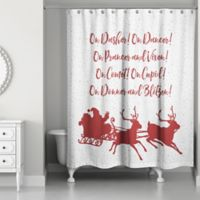 Designs Direct Reindeer Role Call Shower Curtain in Red
