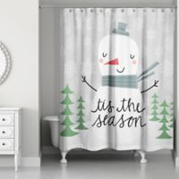 Designs Direct Tis The Season Snowman Shower Curtain in Grey