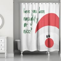 Designs Direct Santa Naughty or Nice Shower Curtain in White
