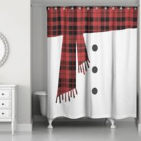Snowman Scarf and Buttons 71-Inch x 74-Inch Shower Curtain