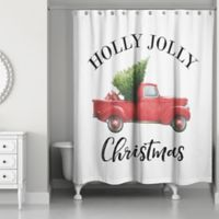 Vintage Christmas Truck 71-Inch x 74-Inch Shower Curtain