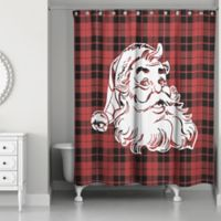 Plaid Santa 71-Inch x 74-Inch Shower Curtain in Red