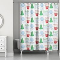 Christmas Word 71-Inch x 74-Inch Shower Curtain
