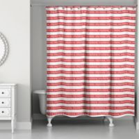 Merry Christmas Stripes 71-Inch x 74-Inch Shower Curtain