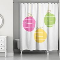 Designs Direct Simple Ornaments Christmas Shower Curtain