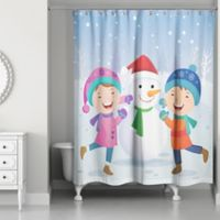 Designs Direct Children Snowman Christmas Shower Curtain