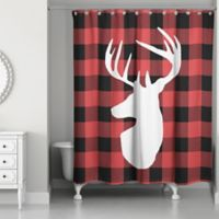 Buffalo Check Deer 71-Inch x 74-Inch Shower Curtain
