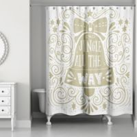 Jinggle Bells 71-Inch x 74-Inch Shower Curtain in Gold