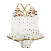 Floatimini Size 18M 1-Piece Gold Heart Ruffle Swimsuit in White