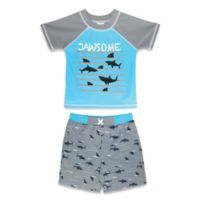"Sol Swim Size 6-9M 2-Piece ""Jawsome"" Rashguard and Swim Trunk Set in Blue"