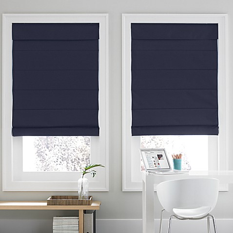 Real Simple 174 Roman Shade In Navy Bed Bath Amp Beyond