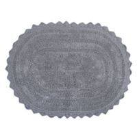 Design Imports Reversible Crochet 17-Inch x 24-Inch Round Bath Mat in Cameo Grey